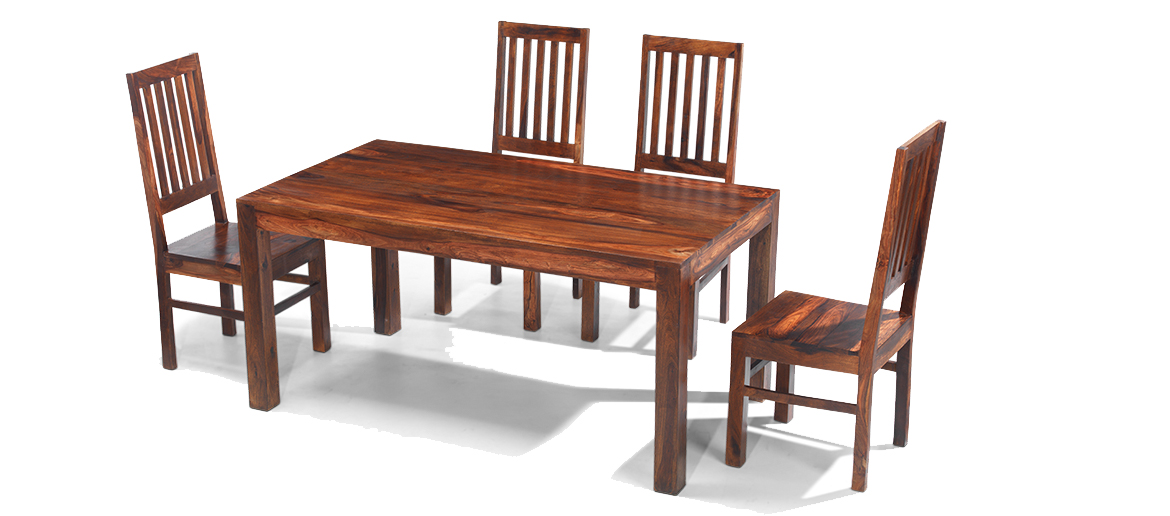 Cube sheesham 160 cm dining table and 4 chairs quercus living - Dining table sets online india ...