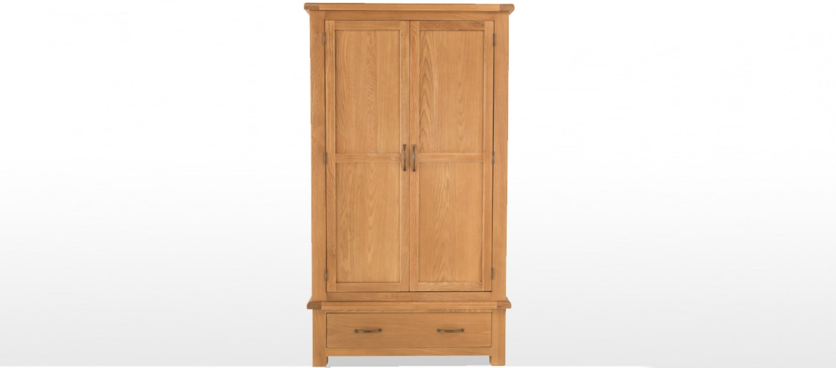 Marton Oak Double Wardrobe with Drawers