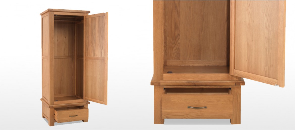 Marton Oak Single Wardrobe with Drawer