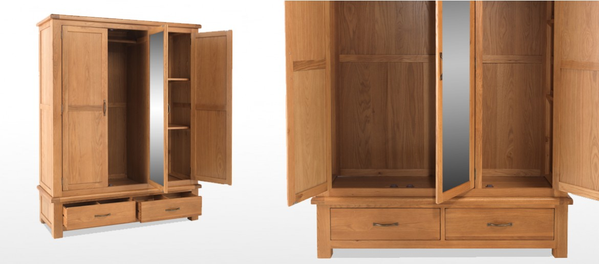 Marton Oak Triple Wardrobe with Mirror and Drawers