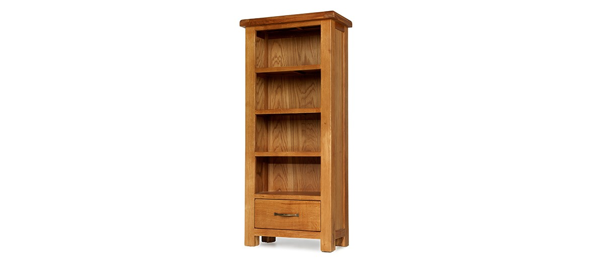Barham Oak Petite Bookcase with Drawer