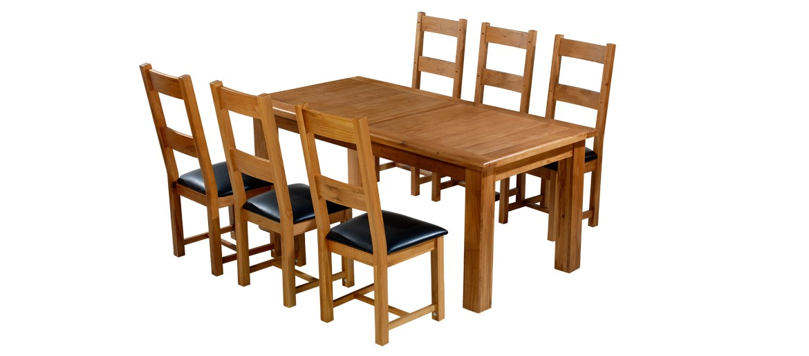 Barham Oak 180-250 cm Extending Dining Table and 6 Chairs