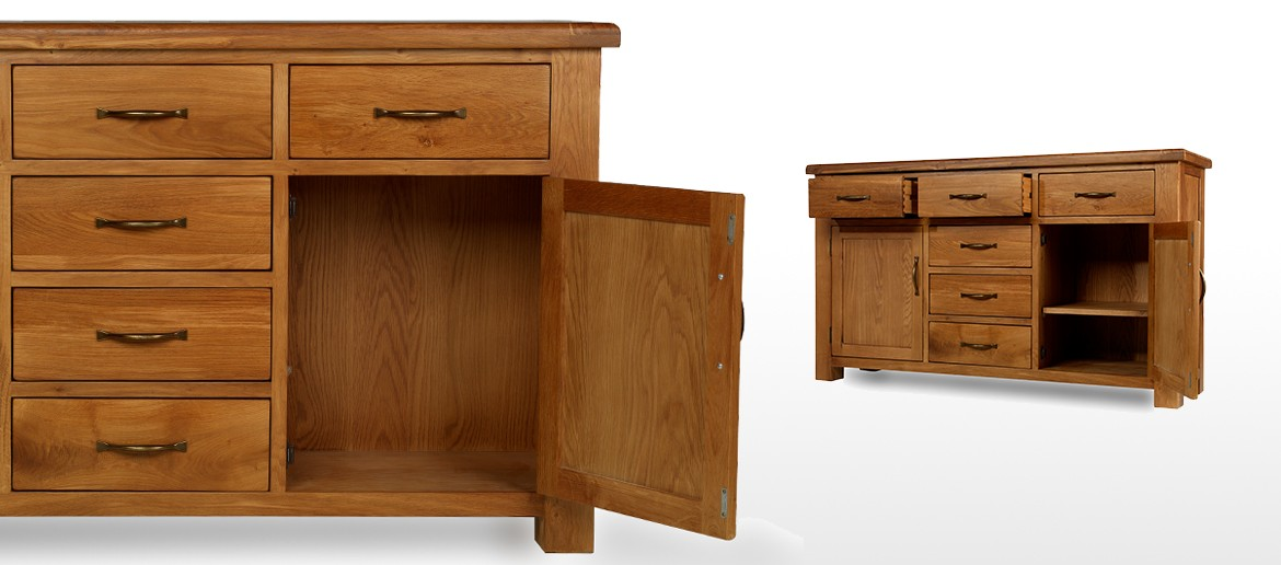 Barham Oak Large 2 Door, 6 Drawer Sideboard