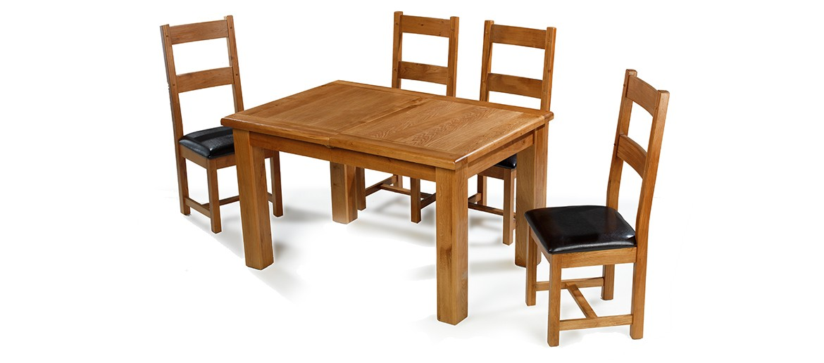 Barham Oak 132-198 cm Extending Dining Table and 4 Chairs