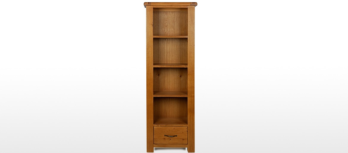 Barham Oak Slim Bookcase with Drawer