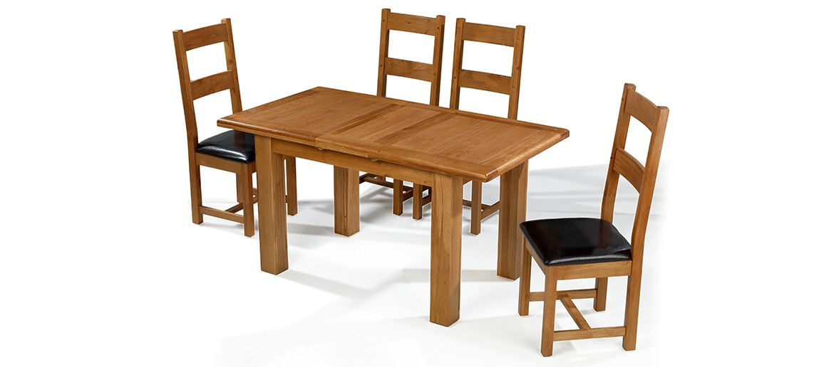 Barham Oak 120-150 cm Extending Dining Table and 4 Chairs