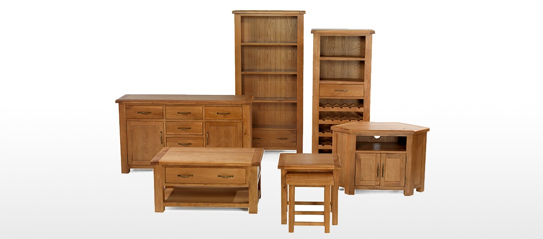 Barham Oak Large Bookcase with Drawers