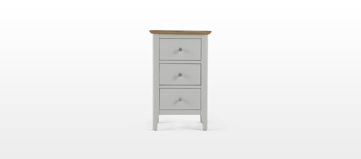 Meredith Painted 3 Drawer Bedside Cabinet