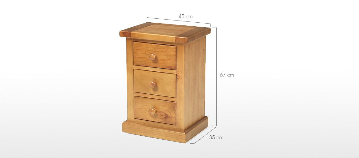 Devon Pine 3 Drawer Bedside Cabinet