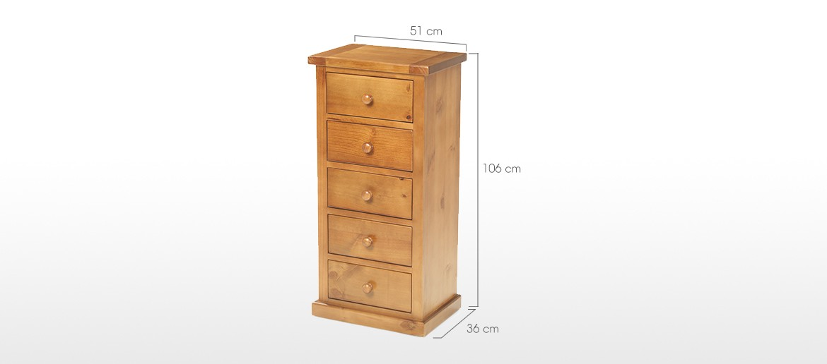 Devon Pine 5 Drawer Tall Chest of Drawers