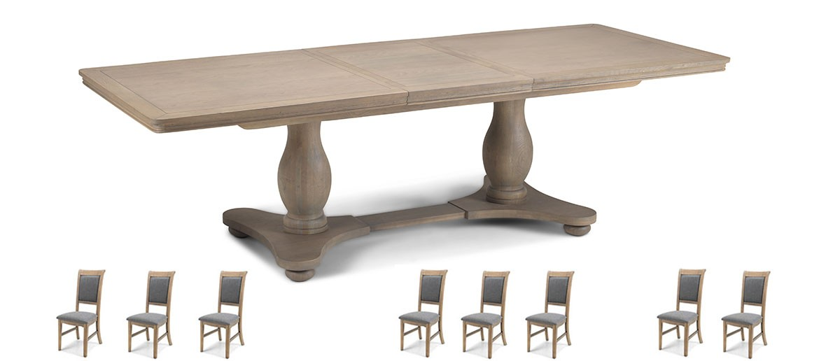 Kilmar Oak Living & Dining Pedestal Ext Dining Table 180/230cm and 8 Chairs