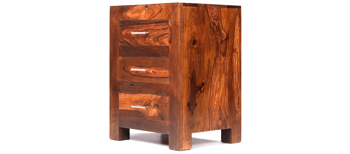 Cube Sheesham 3 Drawer Bedside Cabinet