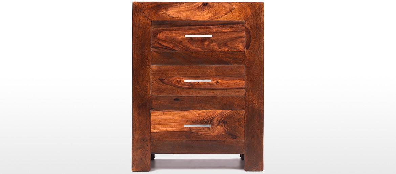 Cube Sheesham 3 Drawer Bedside Cabinet