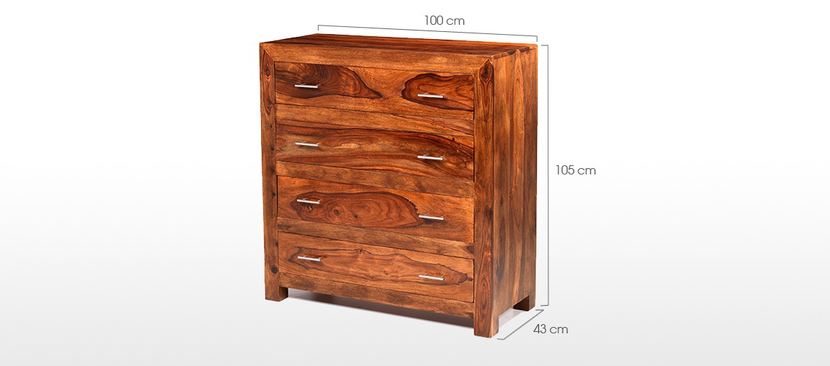 Cube Sheesham 4 Drawer Chest of Drawers