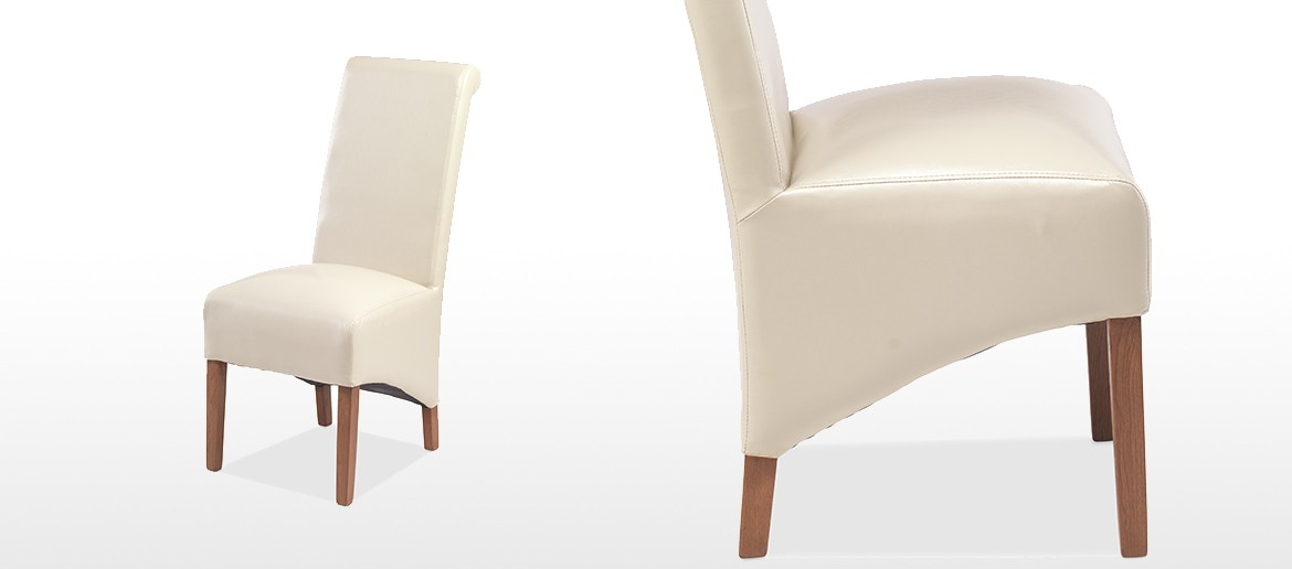 Cube Bonded Leather Dining Chairs Beige - Pair