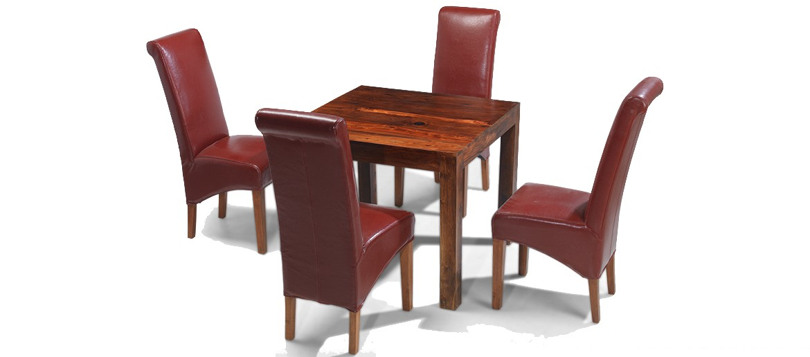 Cube Sheesham 90 cm Dining Table and 4 Chairs
