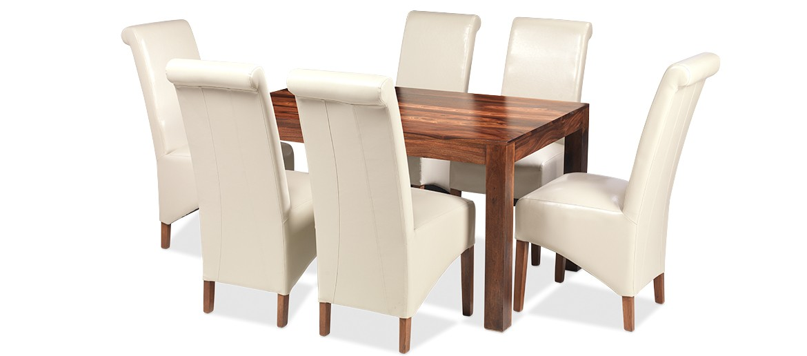 Cube Sheesham 140 cm Dining Table and 6 Chairs
