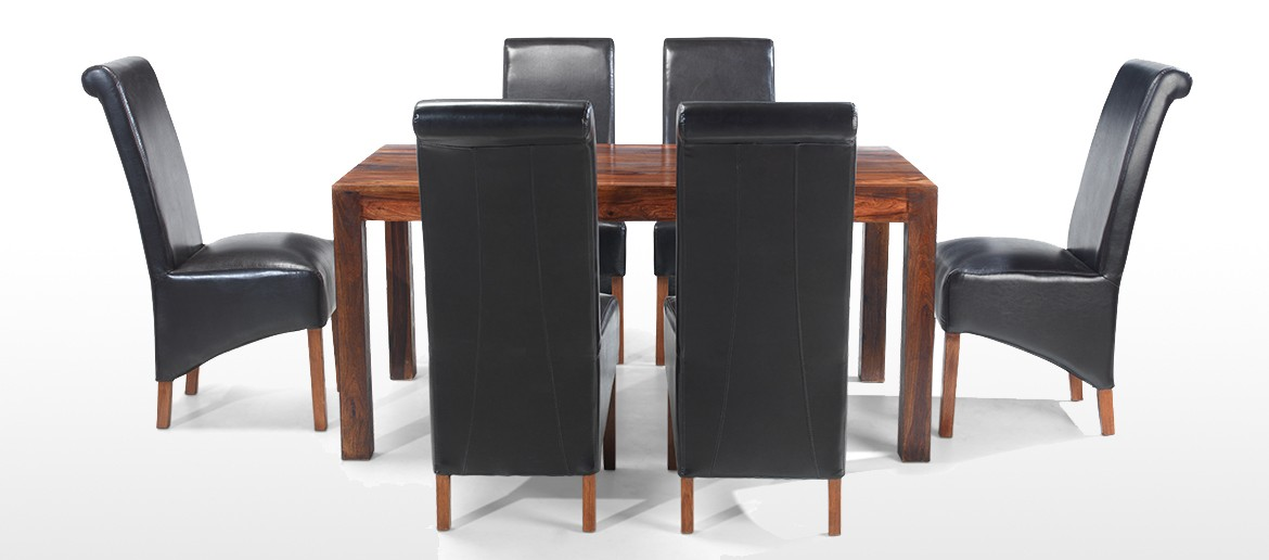 Cube Sheesham 160 cm Dining Table and 6 Chairs