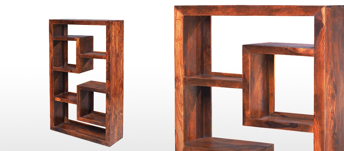 Cube Sheesham Geometric Bookcase