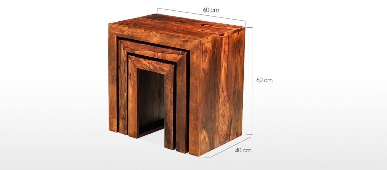 Cube Sheesham Nest of 3 Tables