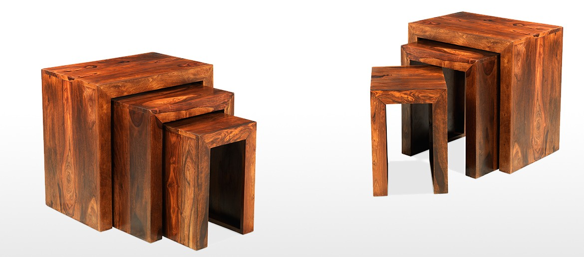 Cube Sheesham Nest of 3 Tables