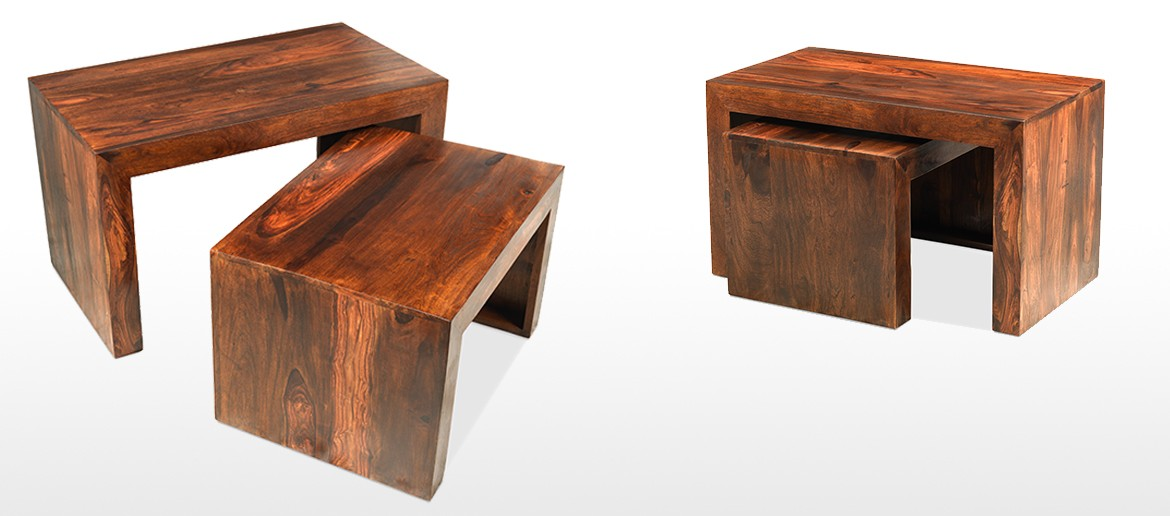 Cube Sheesham Nest of 2 Tables