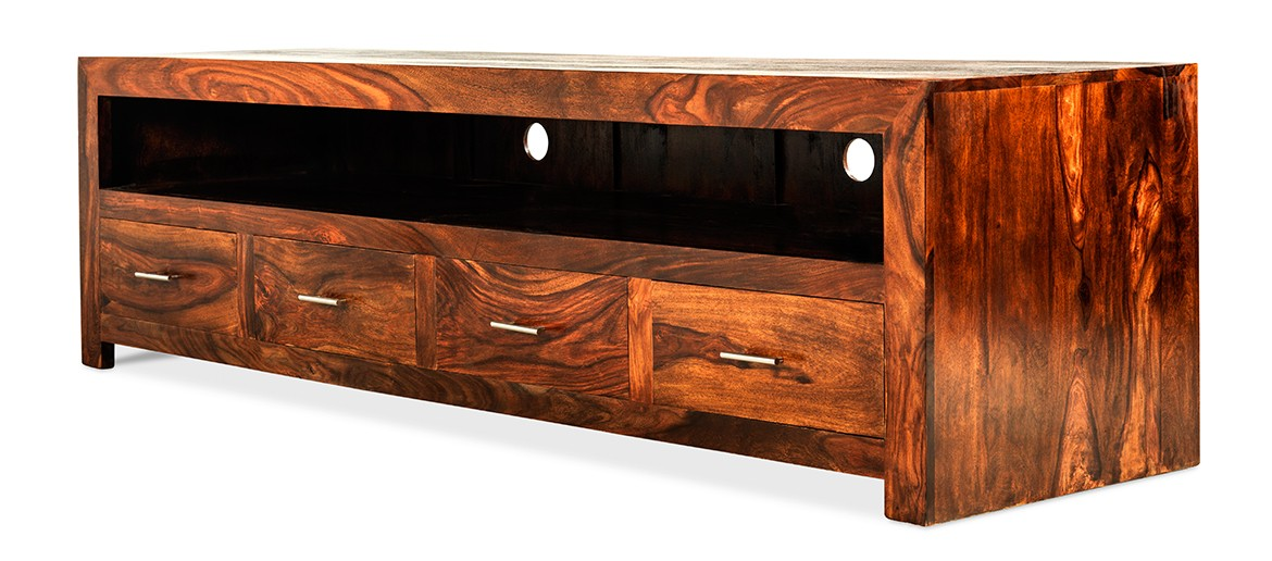 Cube Sheesham Long Plasma TV Cabinet