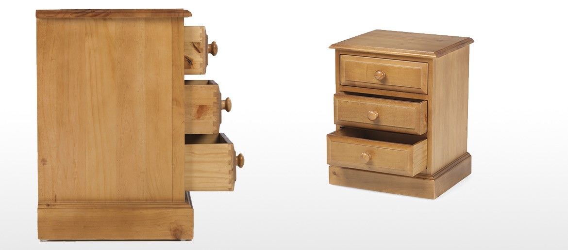 Essentials Pine 3 Drawer Bedside Cabinet