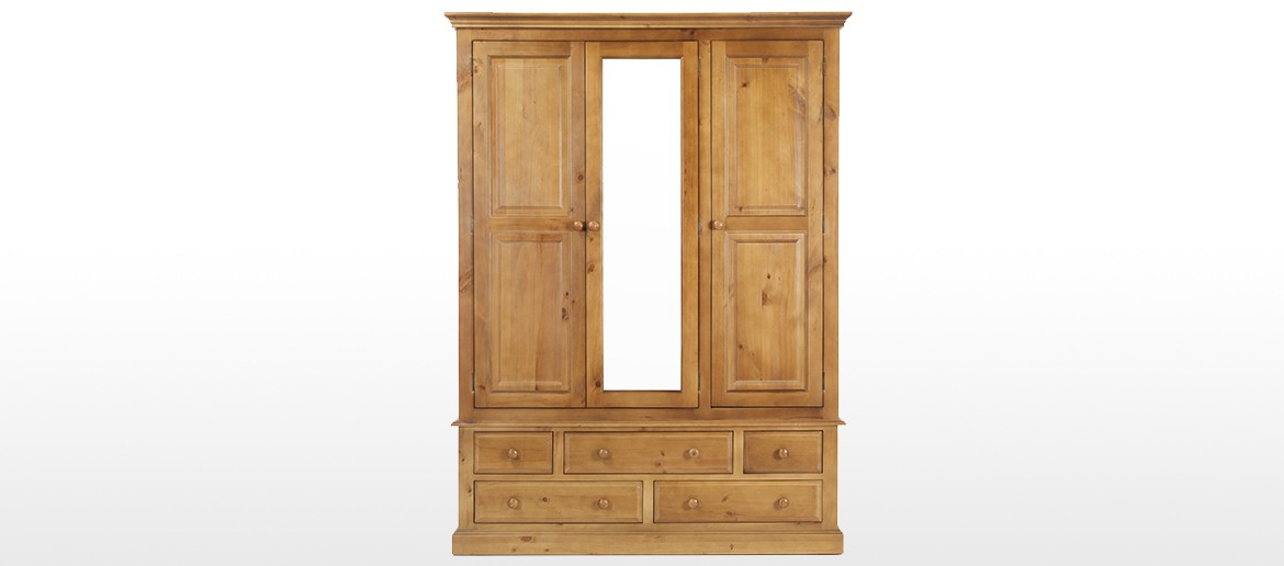 Essentials Pine Triple Wardrobe with Drawers