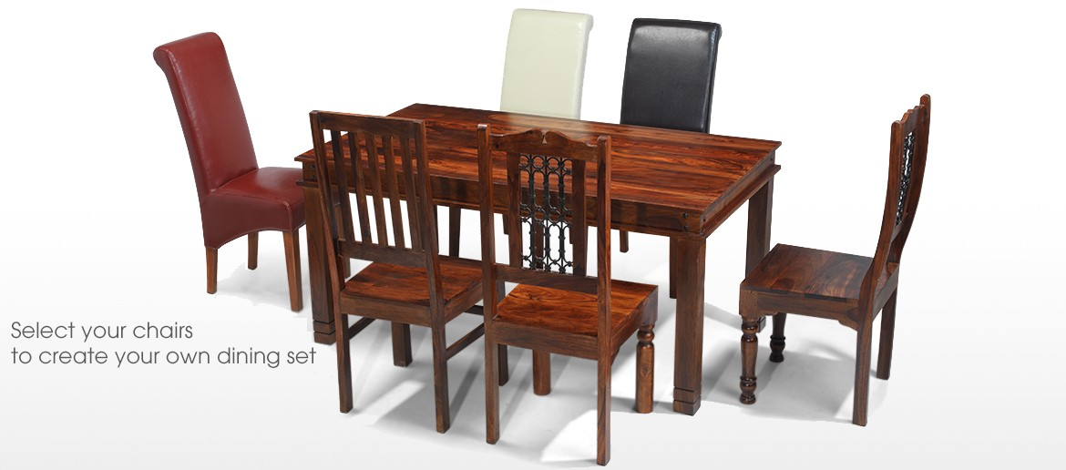 Jali Sheesham 120 cm Chunky Dining Table and 4 Chairs