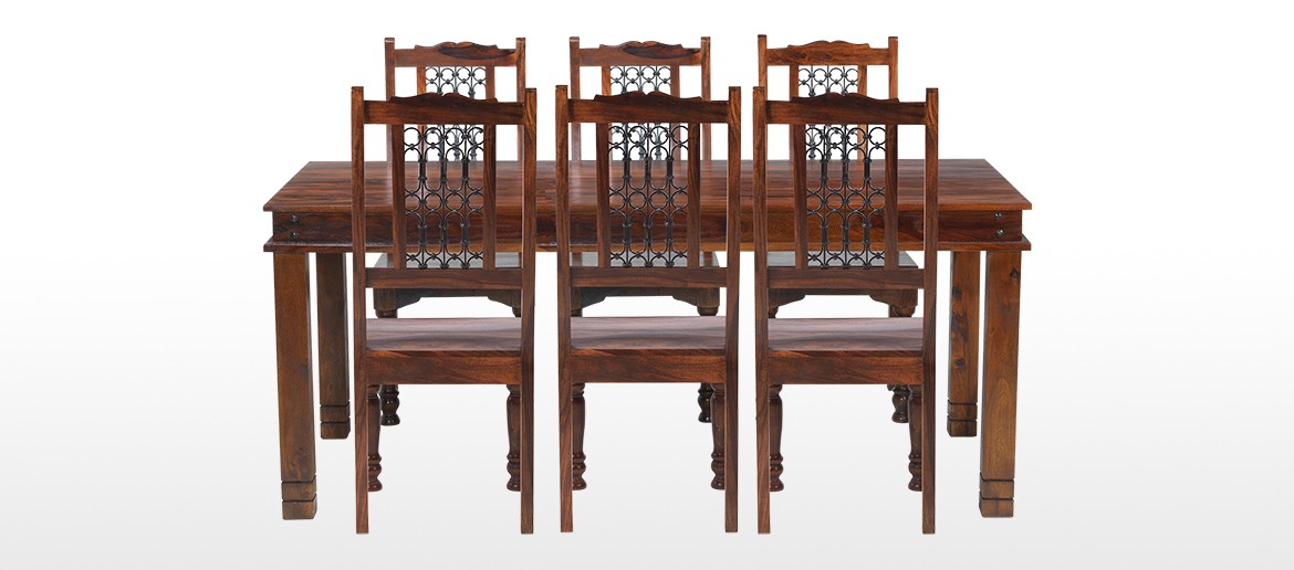 Jali Sheesham 160 cm Chunky Dining Table and 6 Chairs