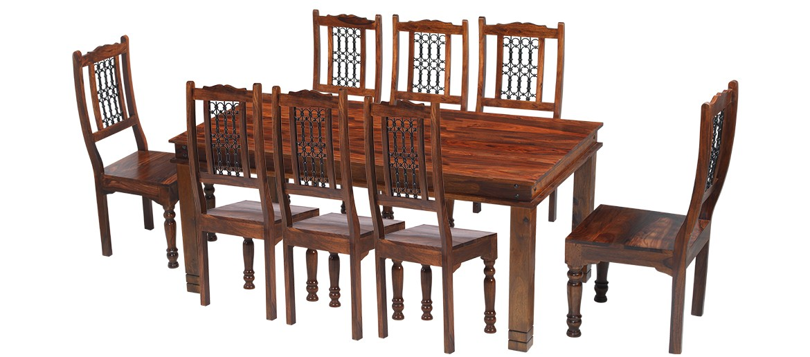 Jali Sheesham 180 Cm Chunky Dining Table And 8 Chairs Quercus Living