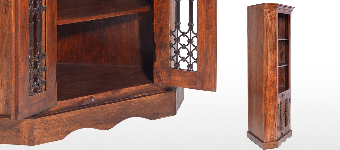 Jali Sheesham Corner Display Cabinet