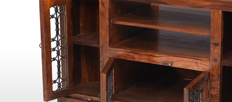 Jali Sheesham Corner TV Cabinet
