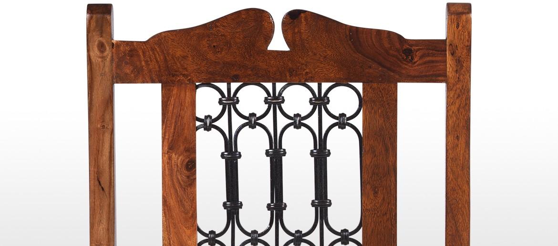 Jali Sheesham High Back Ironwork Dining Chairs - Pair