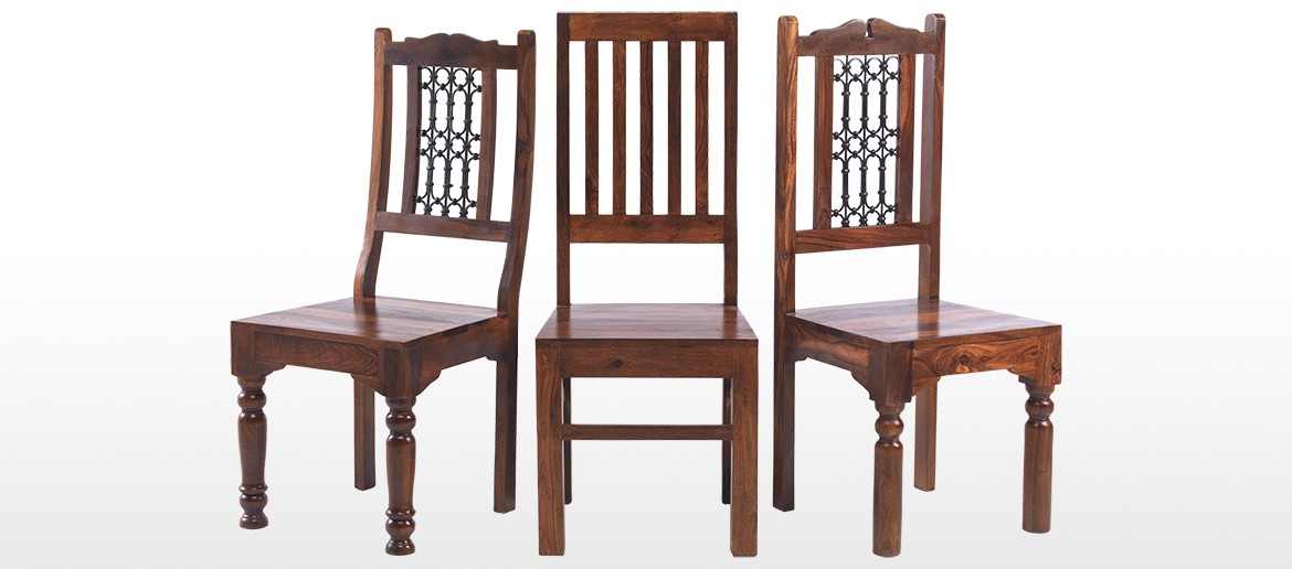 Jali Sheesham High Back Ironwork Dining Chairs - Pair