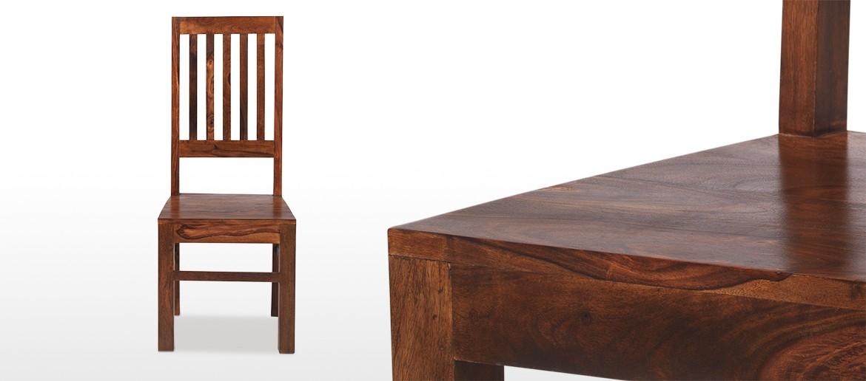 Cube Sheesham High Back Slat Dining Chairs - Pair