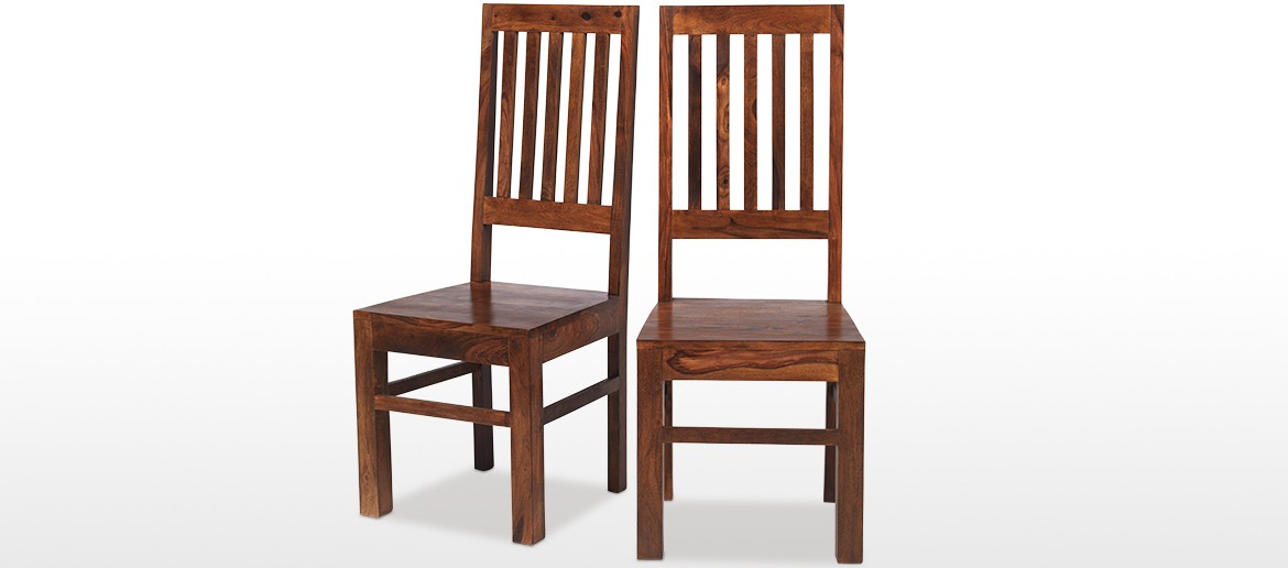 Sheesham High Back Slat Dining Chairs - Pair