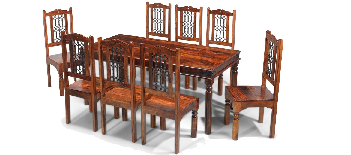 Jali Sheesham 200 cm Thakat Dining Table and 8 Chairs