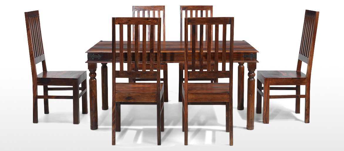 Jali Sheesham 160 cm Thakat Dining Table and 6 Chairs