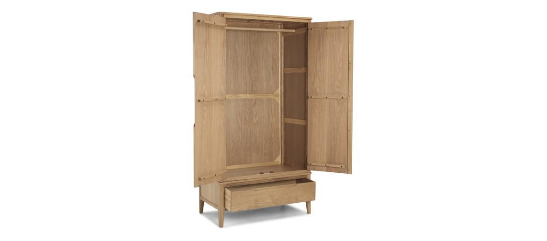 Kutaz Oak Double Wardrobe With Drawer