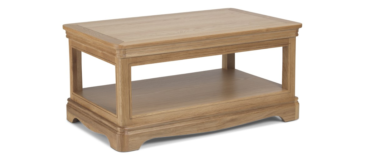 Kilmar Natural Oak Living & Dining Coffee Table With Shelve