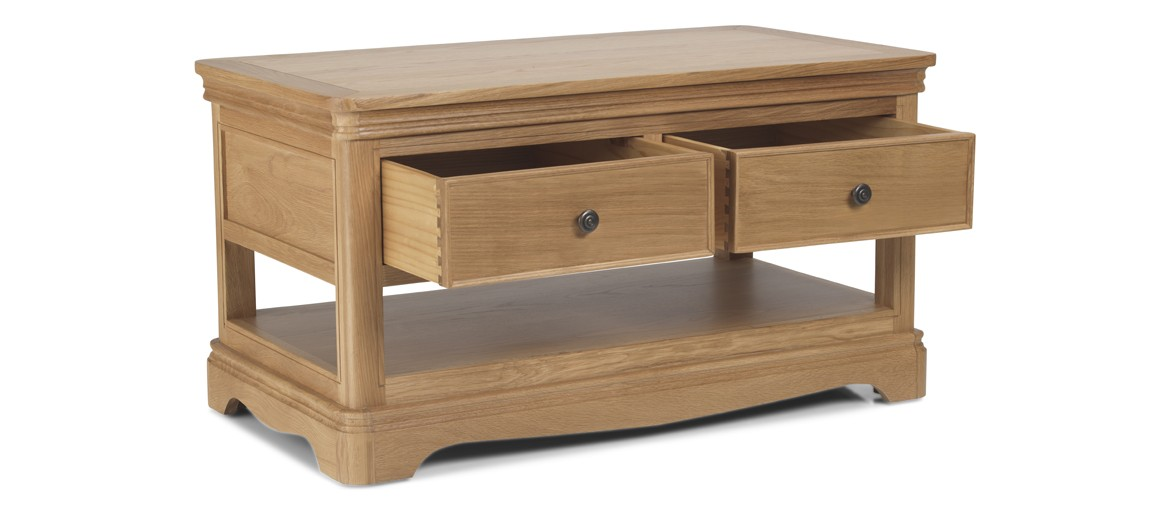 Kilmar Natural Oak Living & Dining Coffee Table With  2 Drawers