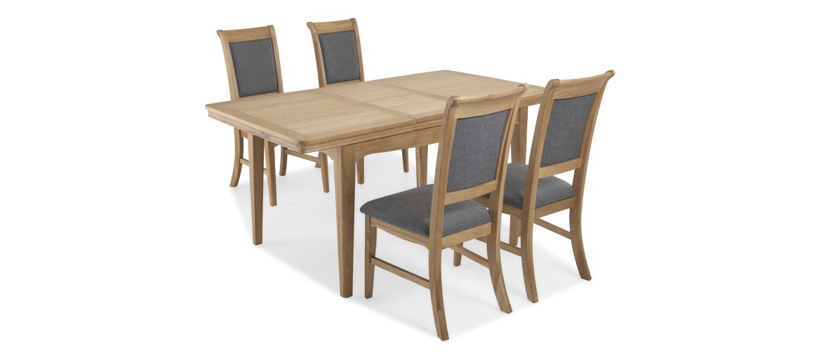 Kilmar Natural Oak Living & Dining Ext Dining Table with 4 Chairs