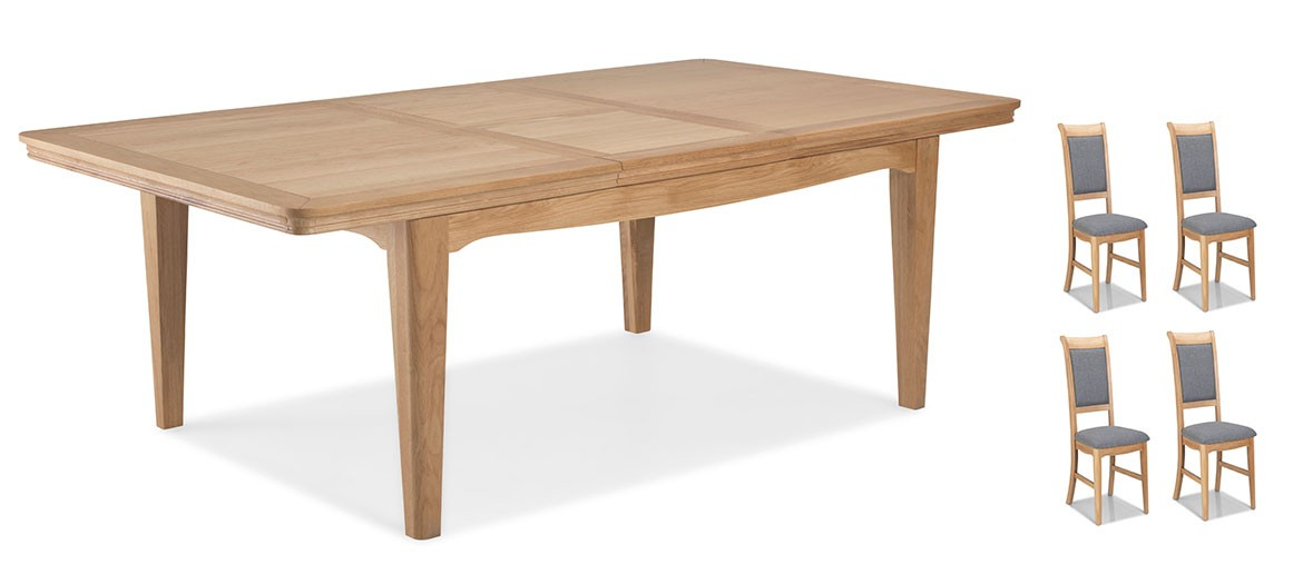 Kilmar Natural Oak Living & Dining Ext Dining Table 150/200cm and 4 Chairs