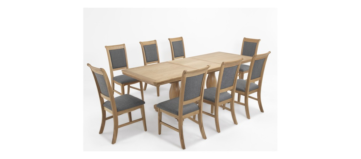 Kilmar Natural Oak Living & Dining Pedestal Ext Dining Table 180/230cm and 8 Chairs
