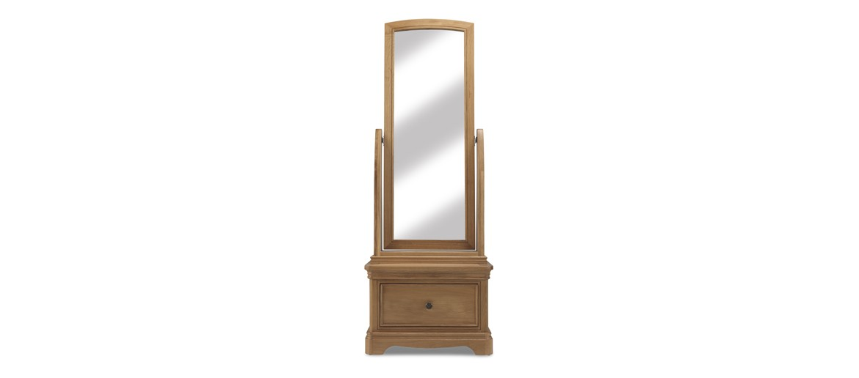 Kilmar Natural Oak Bedroom Sleigh Cheval Mirror With Drawer
