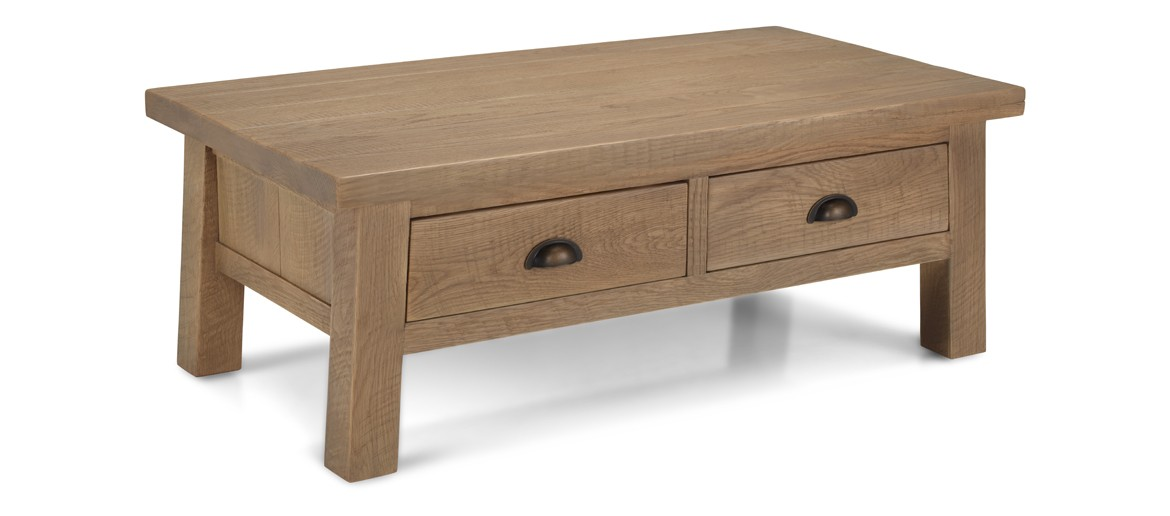 Holloway Rough Sawn Oak Coffee Table With Drawers