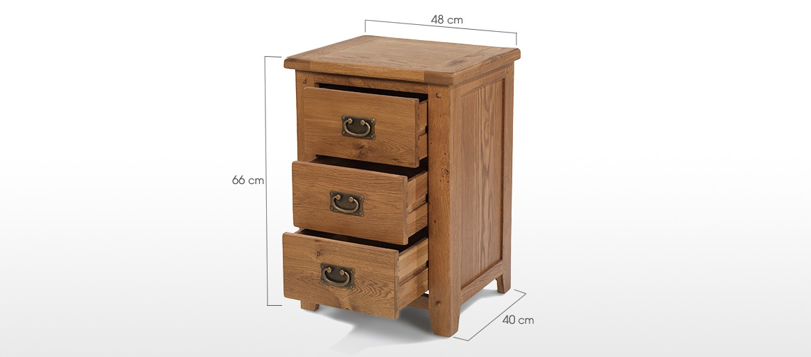 Rustic Oak 3 Drawer Bedside Cabinet