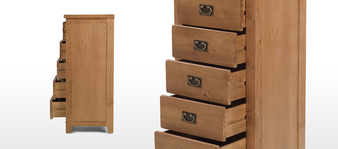 Rustic Oak 5 Drawer Tall Chest of Drawers